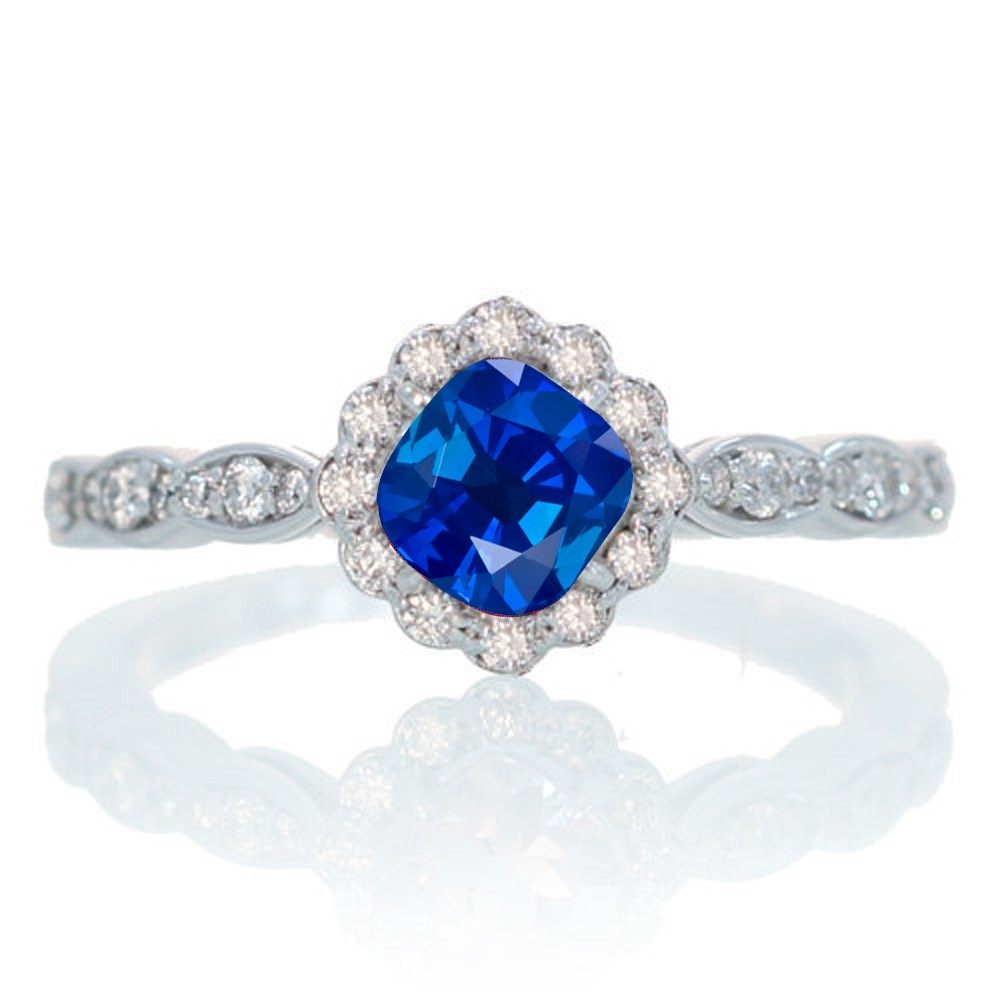 Awesome Cushion Cut Sapphire Engagement Rings