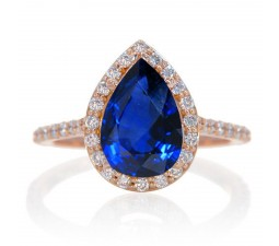 1.5 Carat Pear Cut Sapphire Halo Desiger Engagement for Woman on 10k White Gold