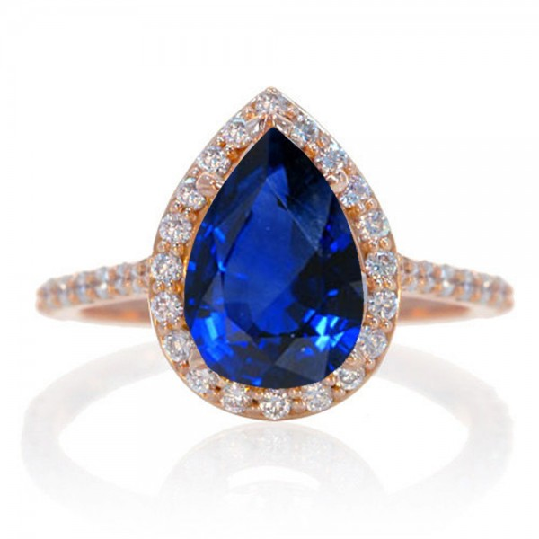 1 5 Carat Pear Cut Sapphire Halo Desiger Engagement for Woman on 10k Rose Gol