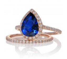 2 Carat Sapphire and Diamond Halo Bridal Ring Set on 10k Rose Gold