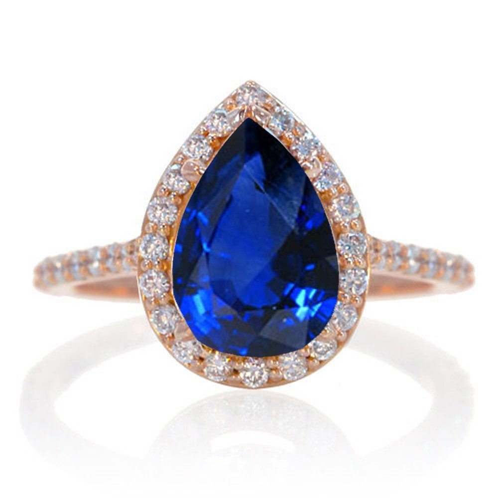 2 Carat Sapphire and Diamond Halo Bridal Ring Set on 10k Rose Gold JeenJewels