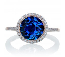 2.5 Carat Huge Sapphire and Diamond Halo Classic Engagement Ring on 10k Rose Gold