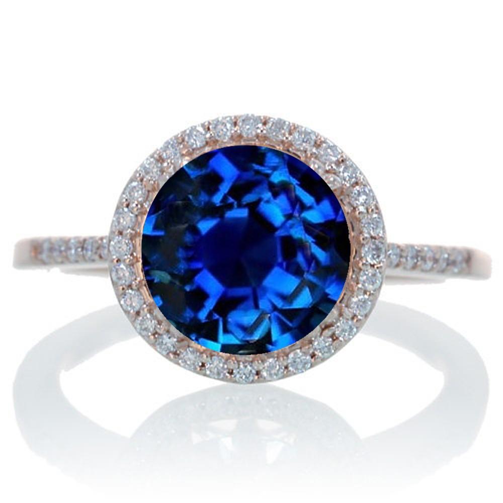 2 5 Carat Huge Sapphire And Diamond Halo Classic