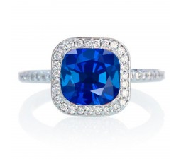 1.5 Carat Cushion Cut Classic Sapphire and diamond Halo Multistone Engagement Ring on 10k White Gold