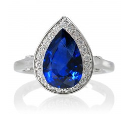 1.5 Carat Pear Cut Halo Sapphire Engagement Ring  on 10k White Gold
