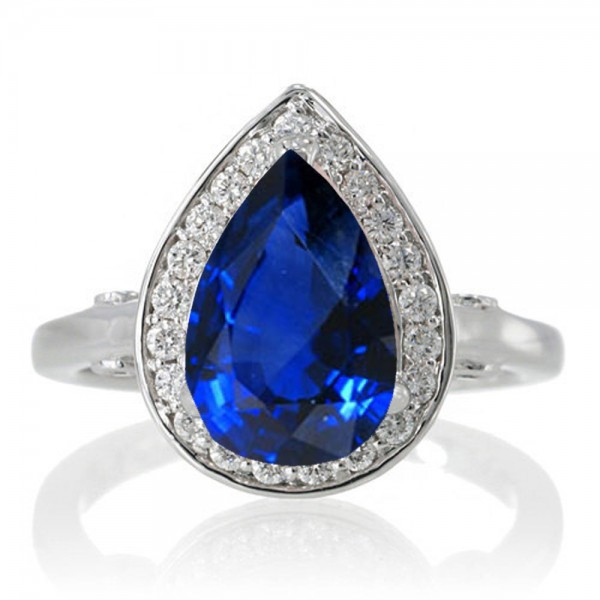 1 5 Carat Pear Cut Halo Sapphire Engagement Ring On 10k