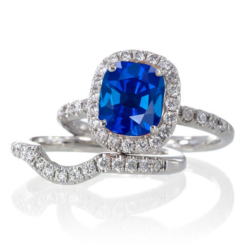 Sapphire Wedding Ring Sets Sapphire 2 Carat Unique Sapphire And Diamond Bridal Ring Set On 10k