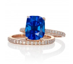 2 Carat Sapphire and Diamond Bridal wedding ring set on 10k Rose Gold