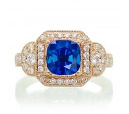 2 Carat Vintage Round Cut Sapphire and Diamond Designer Halo Wedding Ring on 10k Rose Gold