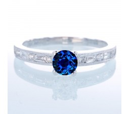 1.5 Carat Round cut Vintage Sapphire and Diamond Engagement Ring on 10k White Gold