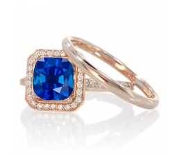 1.5 Carat Bestselling Princess Halo Bridal Set with Sapphire and Diamond on 10k White Gold