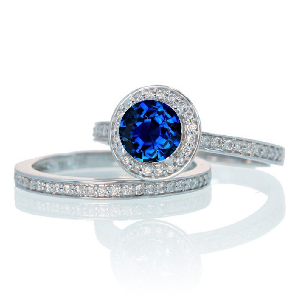 2 carat unique classic halo round sapphire and diamond for Sapphire wedding ring sets