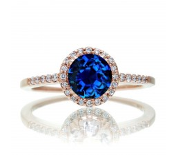 1.5 Carat Round Classic Sapphire and Diamond Vintage Engagement Ring on 10k Rose Gold