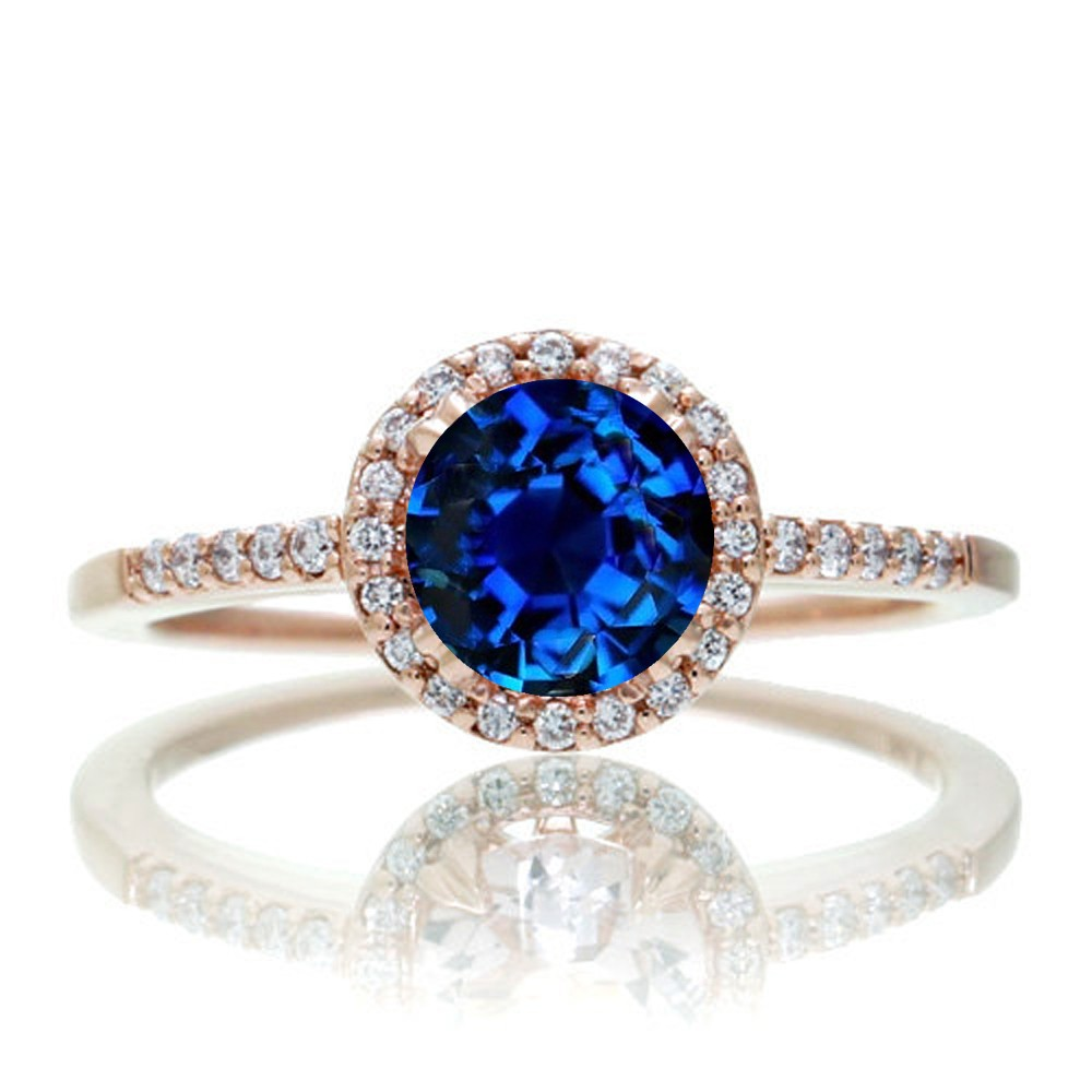 15 Carat Round Classic Sapphire And Diamond Vintage Engagement Ring On 10k  Rose Gold