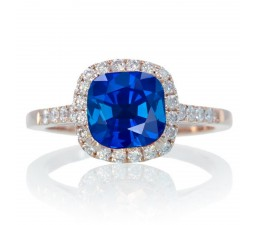 1.5 Carat Perfect Cushion Sapphire and Diamond Engagement Ring on 10k Rose Gold