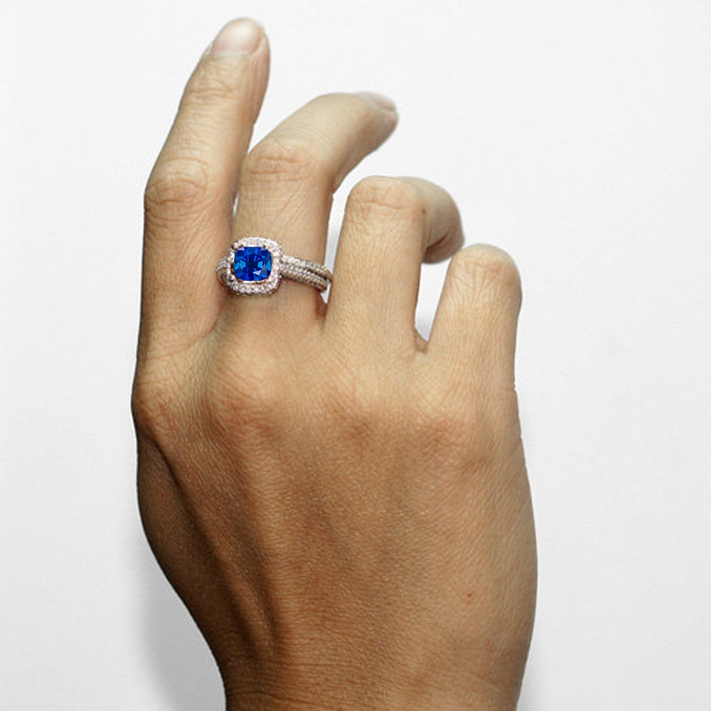 25 Carat Cushion Cut Designer Sapphire and Diamond Halo Wedding