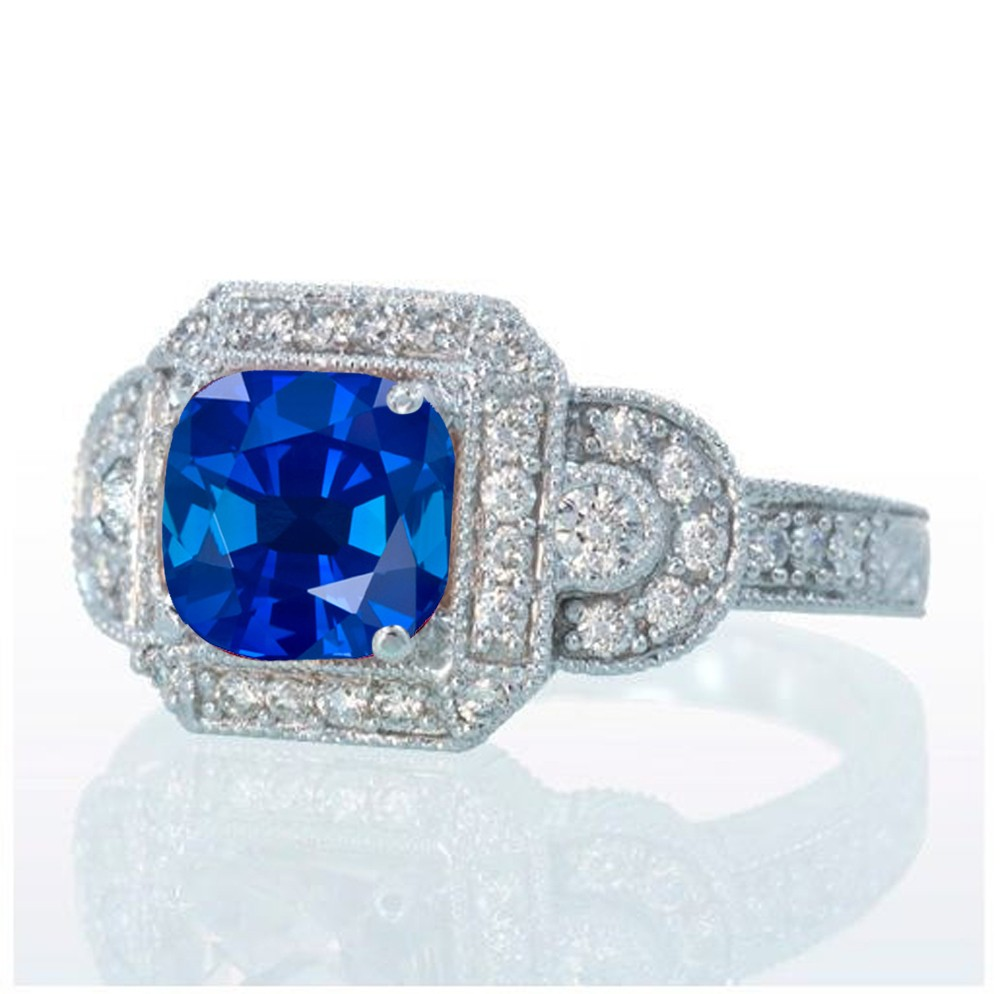 1.5 Carat Vintage Princess Cut Sapphire and Diamond ...