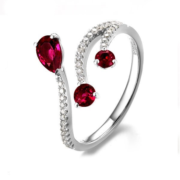 Ruby And Diamond Engagement Ring On 10k White Gold