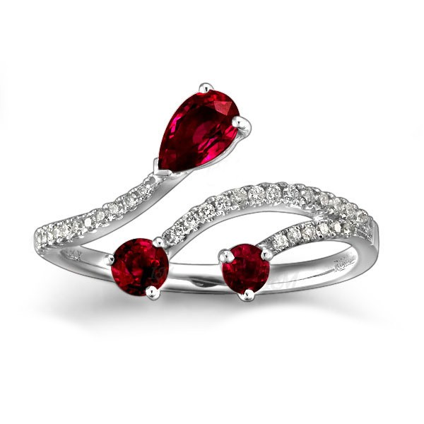 Ruby and Diamond Engagement Ring on 10k White Gold JeenJewels