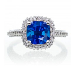 1.5 Carat Cushion Cut Designer Sapphire and Diamond Halo Engagement Ring on 10k White Gold