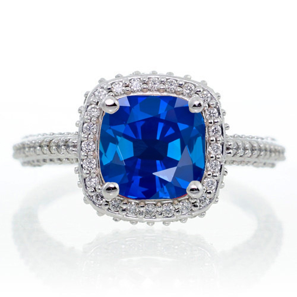 1 5 Carat Cushion Cut Designer Sapphire and Diamond Halo Engagement Ring on 1