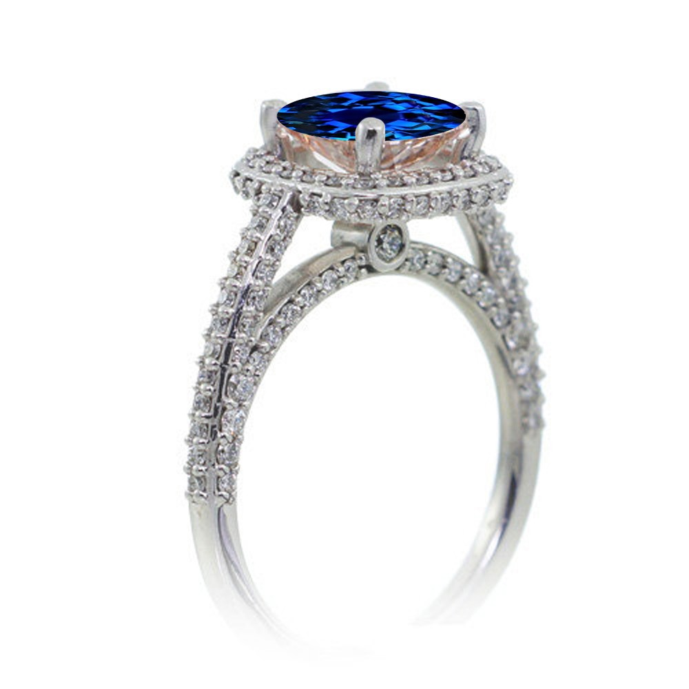 1 5 Carat Cushion Cut Designer Sapphire and Diamond Halo Engagement Ring on 1