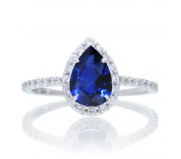 1.5 Carat Classic Pear Cut Sapphire With Diamond Celebrity Engagement Ring on 10k White Gold