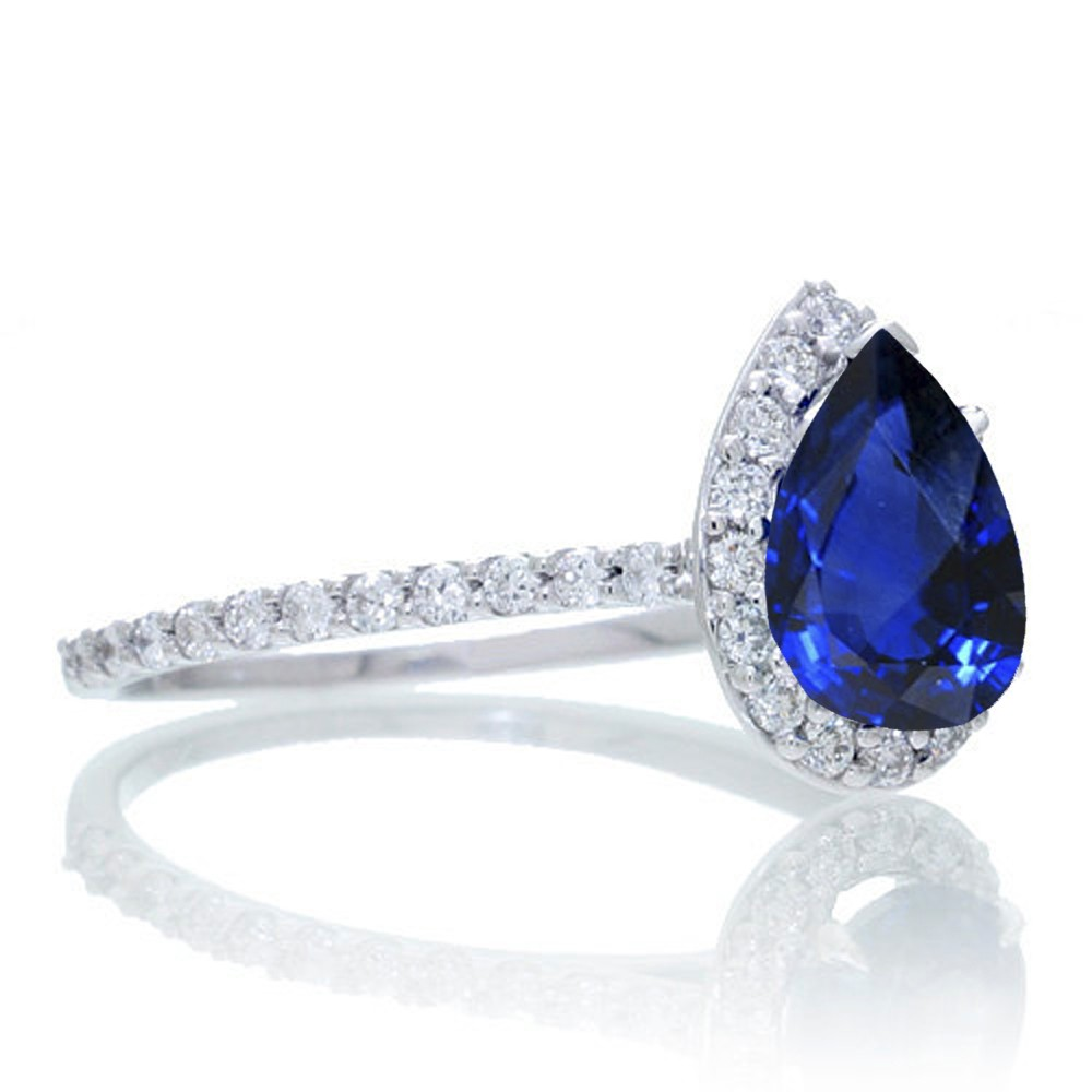 1 5 Carat Classic Pear Cut Sapphire With Diamond Celebrity Engagement Ring on
