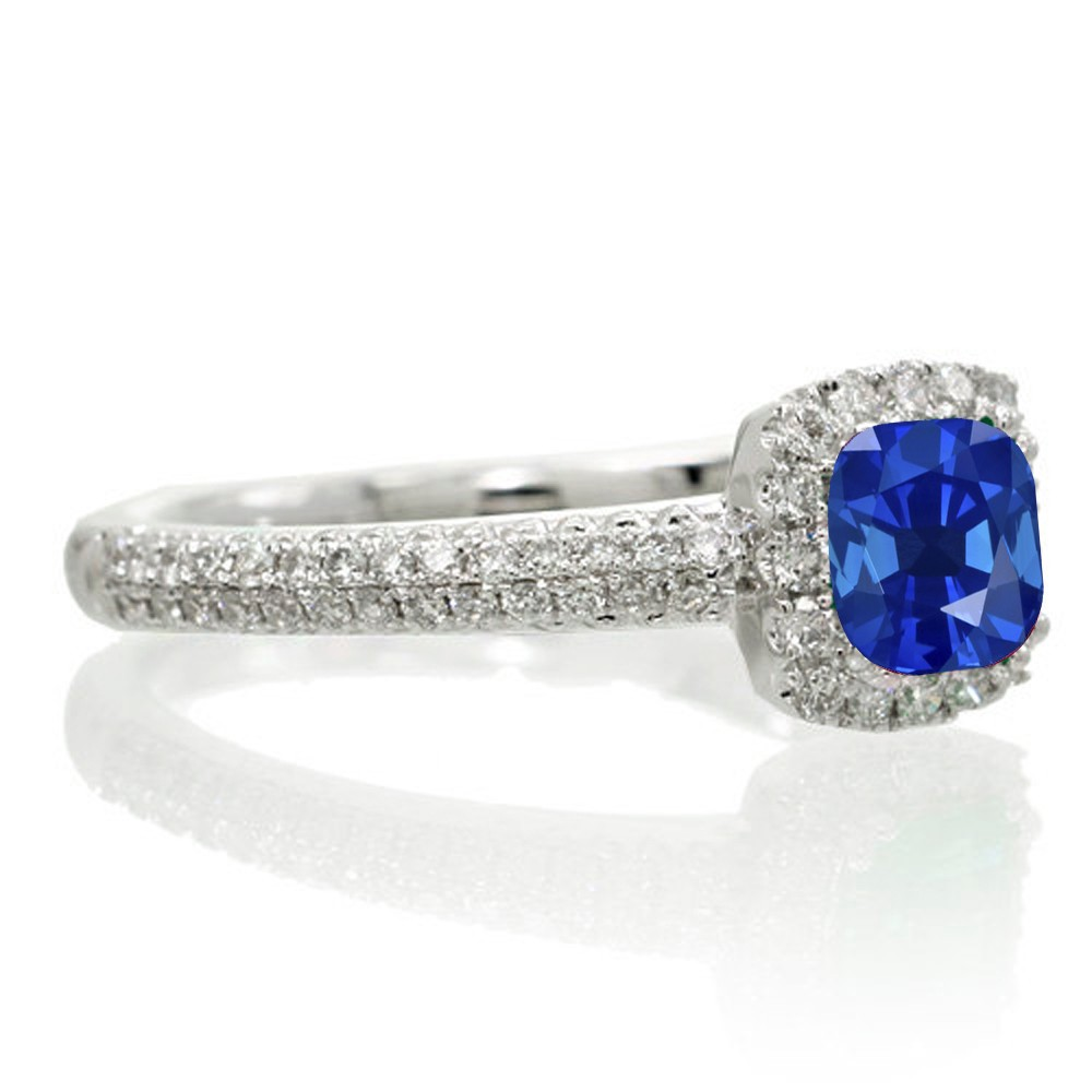 2 Carat Vintage Halo Sapphire and Diamond Engagement Ring on 10k White Gold