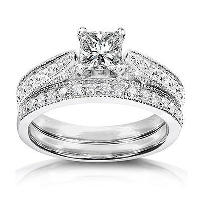 1 Carat Princess cut GIA Certified Diamond Pleasing Antique Wedding