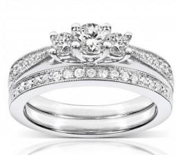 1 Carat Antique Style Diamond Bridal Set on Closeout Sale