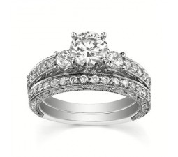 1 Carat GIA Certified Diamond Bridal Set on 14k White Gold