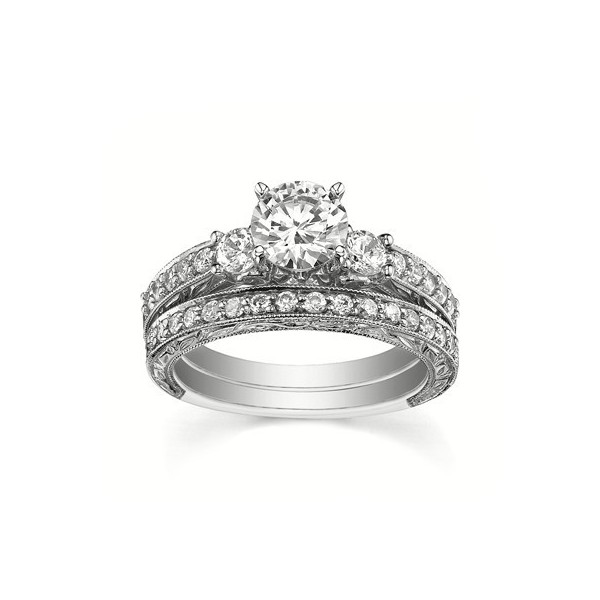 1 Carat GIA Certified Diamond Bridal Set on 14k White Gold