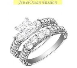 1 Carat Princess cut Diamond Three Stone Diamond Bridal Set On 10K White Gold