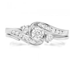 Affordable Half Carat Round Diamond Wedding Ring Set in White Gold