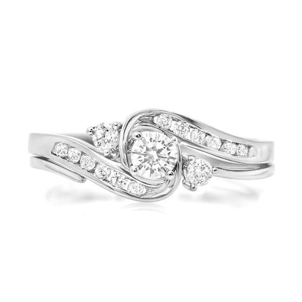 Affordable Half Carat Round Diamond Wedding Ring Set in White Gold