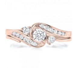 Half Carat Round Diamond Bridal Set in Rose Gold