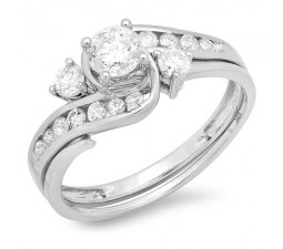 Unique 1 Carat Round Diamond Wedding Ring Set for Women in White Gold