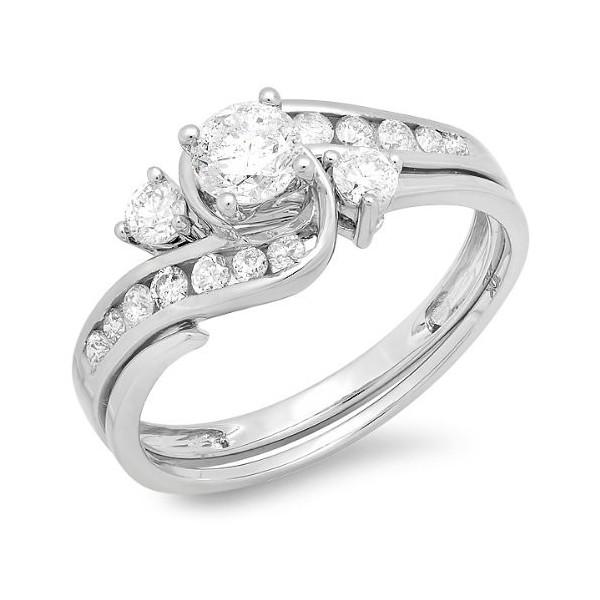 Unique 1 Carat Round Diamond Wedding Ring Set for Women in White Gold