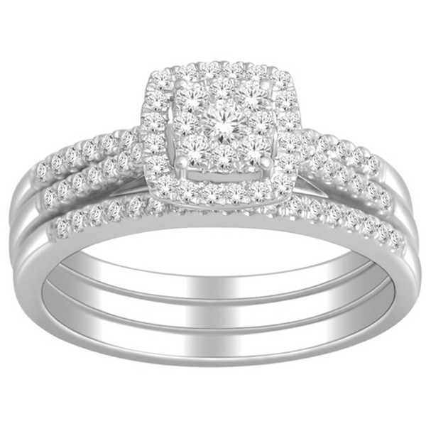 1 Carat Trio Wedding Ring Set for Her GIA Certified Round Diamond in