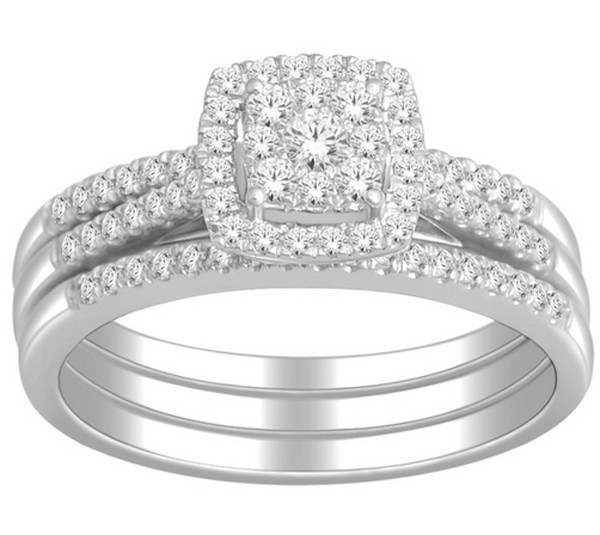 1 carat trio wedding ring set for her in white gold - Trio Wedding Rings
