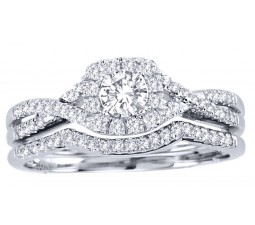 1 Carat Round Cut Diamond Perfect Halo Bridal Ring Set 10K White Gold