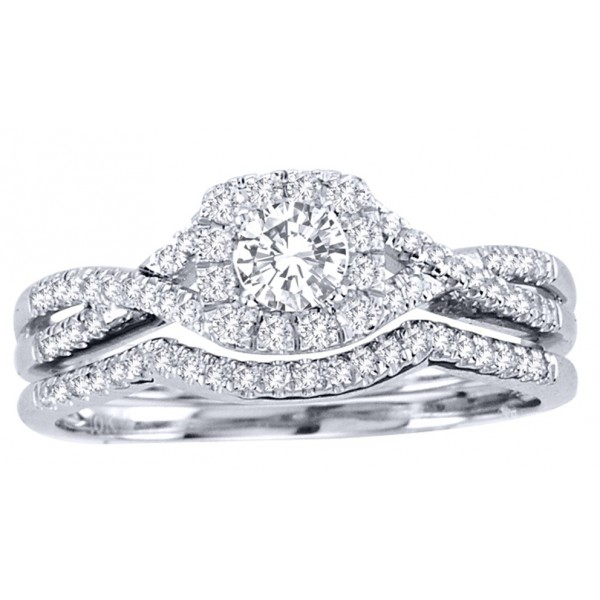 1 Carat Round Cut Diamond Perfect Halo Bridal Ring Set 10K White Gold