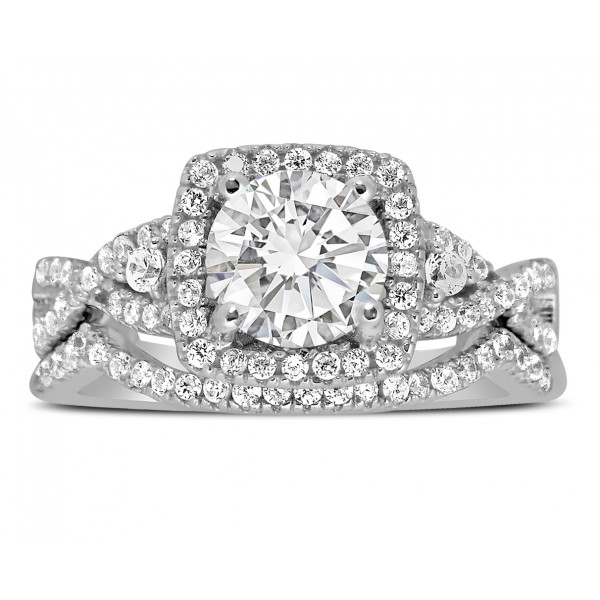 2 Carat Infinity design Round Wedding Ring Set in White Gold