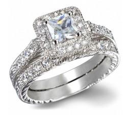 GIA Certified 1 Carat Princess cut Diamond Vintage Wedding Ring Set in White Gold