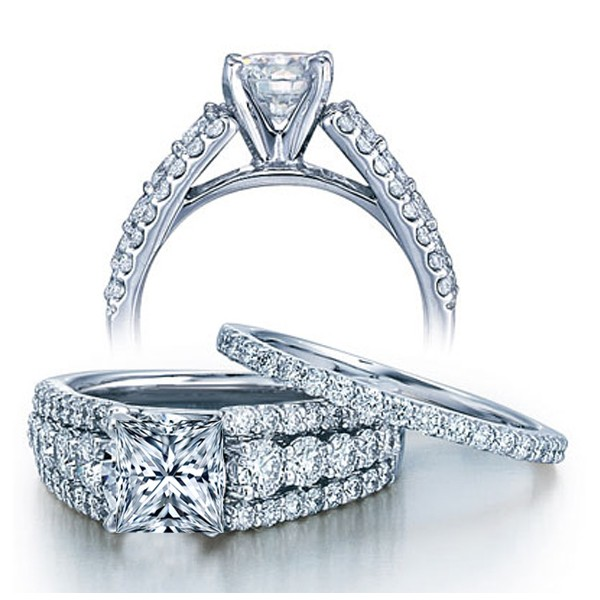 2 Carat Princess cut GIA Certified Diamond Designer Wedding Ring Set