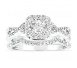 Infinity 1 Carat Round Diamond Wedding Ring Set in White Gold