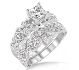 1.00 Carat Infinity Floral Antique Bridal set in Princess cut diamond in 10k white gold