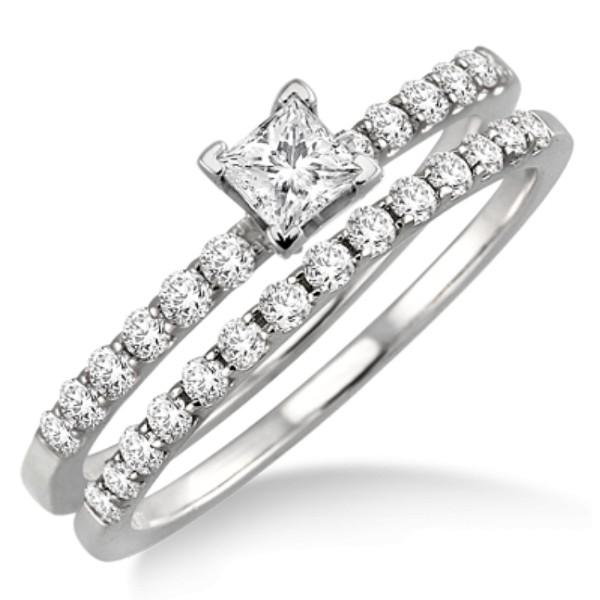 0.50 Carat Bridal Set with Princess Cut Diamond in 10k White Gold