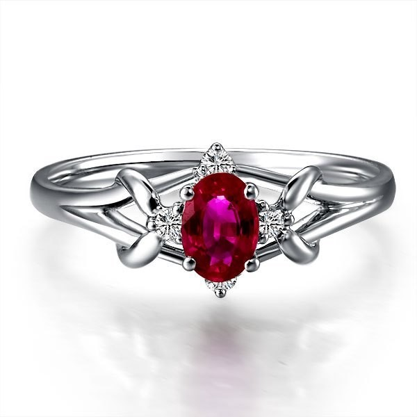 ... Ruby and Diamond Engagement Ring on 10k White Gold ...